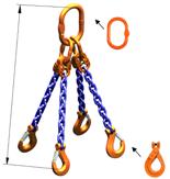 33948236 Zawiesie łańcuchowe czterocięgnowe klasy 10 miproSling LCS 14,0/10,0 (długość łańcucha: 1m, udźwig: 10-14 T, średnica łańcucha: 13 mm, wymiary ogniwa: 200x110 mm)