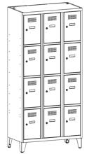 99552027 Szafka ze schowkami 0,5mm na nóżkach, 12 drzwi (wymiary: 1940x900x500 mm)