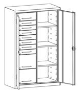 99552503 Szafa warsztatowa, 3 półki, 10 szuflad (wymiary: 1950x1200x500 mm)