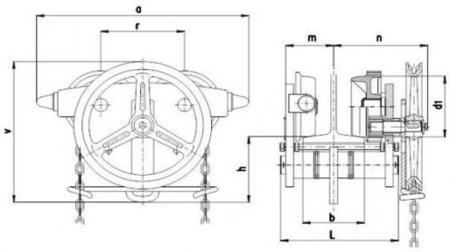 2203102 Wózek jedno-belkowy z napędem ręcznym Z420-B/3.2t/3m (wysokość podnoszenia: 3m, szerokość dwuteownika od: 106-226mm, udźwig: 3,2 T)