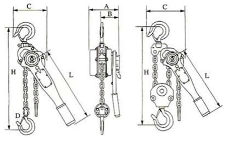 22043658 Wciągnik łańcuchowy z dźwignią ZKS 1,5 3M (wysokość podnoszenia: 3m, udźwig: 1,5 T)