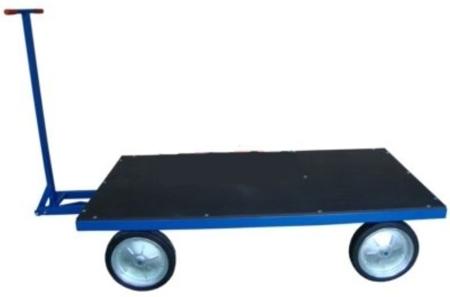 DOSTAWA GRATIS! 13340565 Wózek platformowy ręczny (koła: pełna guma 400 mm, nośność: 1500 kg, wymiary: 1000x2000 mm)