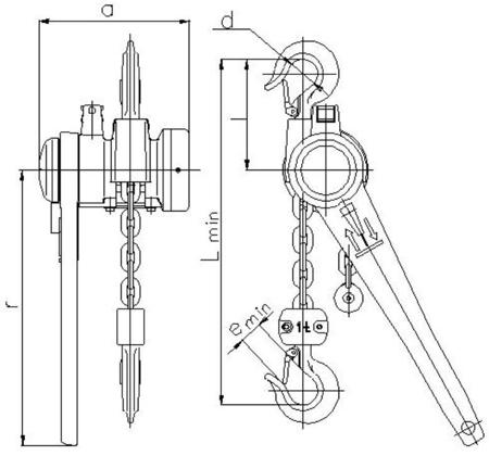 DOSTAWA GRATIS! 22021305 Wciągnik łańcuchowy dźwigniowy, rukcug z łańcuchem ogniwowym Z310/0.5t (wysokość podnoszenia: 10,5m, udźwig: 0,5 T)