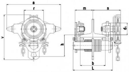 DOSTAWA GRATIS! 22038961 Wózek jedno-belkowy z napędem ręcznym Z420-A/1.0t/8m (wysokość podnoszenia: 8m, szerokość dwuteownika od: 50-113mm, udźwig: 1 T)