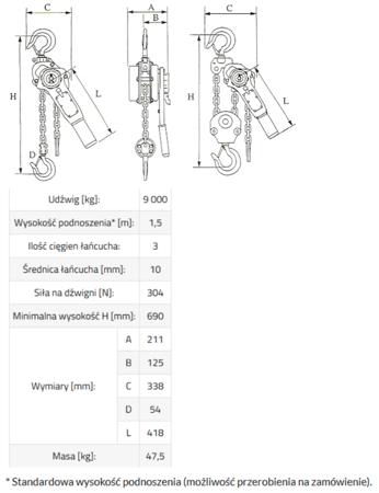 DOSTAWA GRATIS! 33948570 Wciągnik łańcuchowy, rukcug MKS 9,0 3m (udźwig: 9000 kg, wysokość podnoszenia: 3 m)