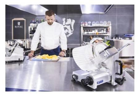 DOSTAWA GRATIS! 45643462 Krajalnica elektryczna do wędlin, mięsa i serów Royal Catering (moc: 180W, średnica noża: 250mm, grubość cięcia: 0-12mm)