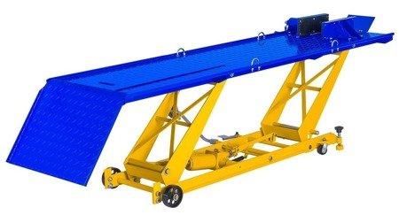 DOSTAWA GRATIS! 45674749 Podnośnik motocyklowy - imadło na korbe (udźwig: 450 kg, wymiary platformy: 2200x680 mm, wysokość podnoszenia: 180-780 mm)