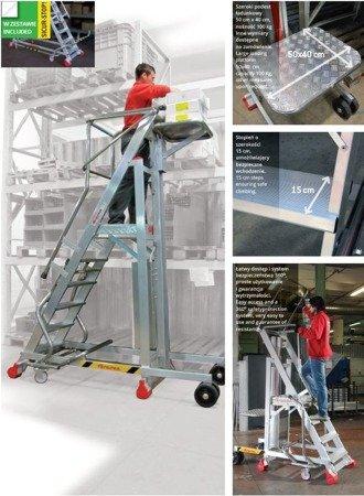 DOSTAWA GRATIS! 99675091 Drabina magazynowa FARAONE 8 stopniowa z elektrycznym podestem ładunkowym (wysokość robocza: 3,74m)