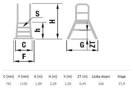 DOSTAWA GRATIS! 99675104 Drabina magazynowa - mostek dwustronny ALOSS - bez kół (wysokość robocza: 3,26m)