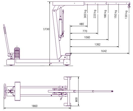 HYDIA Żuraw hydrauliczny ręczny z przeciwwagą (udźwig: od 130 do 300 kg) 61755419