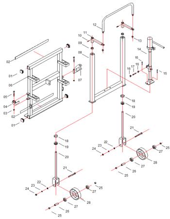 SWARK Wózek hydrauliczny do transportu maszyn, mebli GermanTech (udźwig: 1800 kg) 99724839