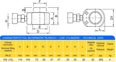 Siłownik płaski (wysokość podnoszenia min/max: 110-140mm, udźwig: 10T) 62753998