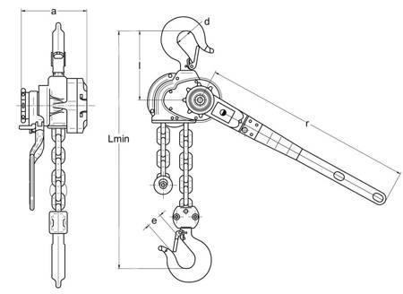 Wciągnik łańcuchowy dźwigniowy (wysokość podnoszenia: 3m, udźwig: 1,6 T) 22076841
