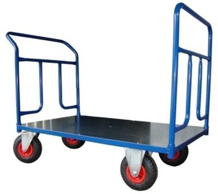 Wózek platformowy ręczny dwuburtowy (koła: pneumatyczne 225 mm, nośność: 250 kg, wymiary: 1200x700 mm) 13340617
