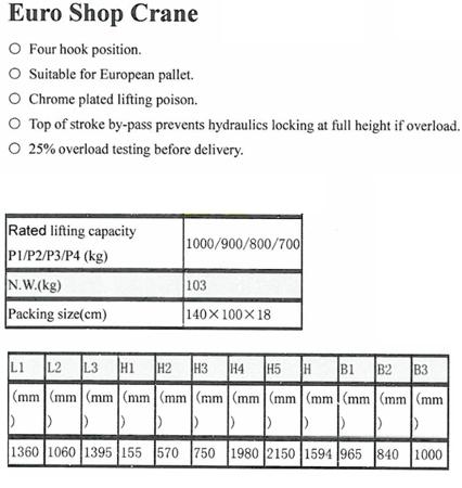 Żurawik warsztatowy GermanTech (udźwig w pozycji: 700-1000 kg). Szerokość dla palety 840mm 99724831